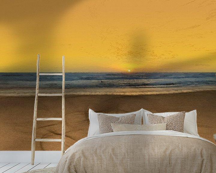 Sfeerimpressie behang: Zonsondergang - Kust -Stand - Horizon - Zonsopkomst - Schilderij van Schildersatelier van der Ven