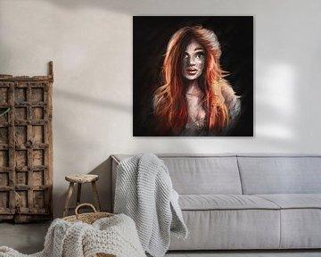 Ölgemälde Stil von Mädchen mit roten Haaren. Digital produziertes Kunstwerk einer jungen Frau mit sc von Emiel de Lange