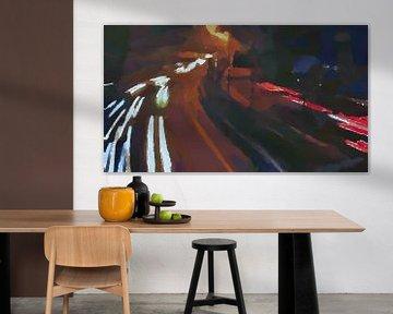 Abstract - Snelle Wagens in het Donker van Schildersatelier van der Ven