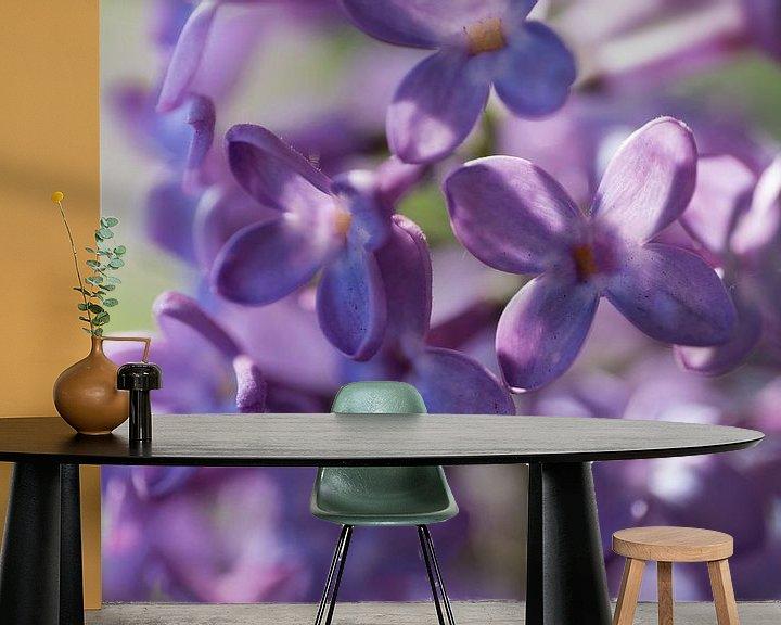 Sfeerimpressie behang: Close-up van prachtige paarse gekleurde, geurende lentebloemen en bloemknoppen van de sering van Henk Vrieselaar