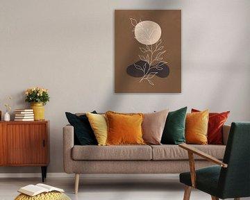 Minimalistisch landschap in herfstkleuren, abstract landschap met een plant en een vale zon