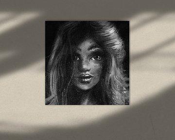 Ölgemälde Stil von Mädchen. Digital produziertes Kunstwerk einer jungen Frau mit schönen langen Haar von Emiel de Lange
