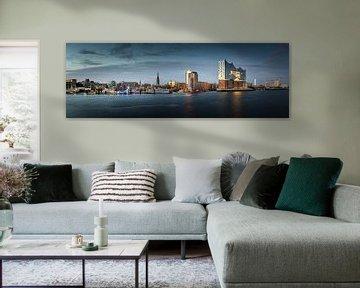 Panorama van de haven van Hamburg bij St. Pauli / Landungsbrücken van Jonas Weinitschke