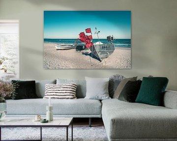 Fischerboote am Ostseestrand im Ostseebad Baabe auf der Insel Rügen von Mirko Boy