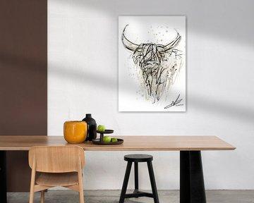 Aquarell und Federzeichnung - abstraktes und modernes Kunstwerk des schottischen Highlanders von Emiel de Lange