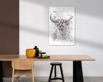 Aquarel en pentekening - abstract en modern kunstwerk van schotse hooglander van Emiel de Lange