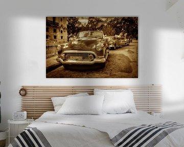 Vintage cabriolet in Havann Cuba met sepia toning van Dieter Walther