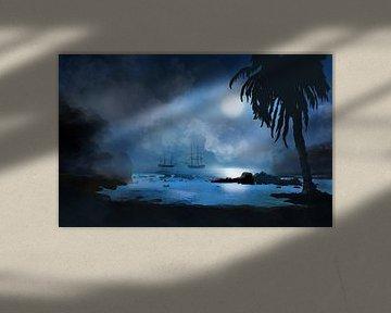 Piratenschepen voor de kust van Port Royale van Patricia Piotrak