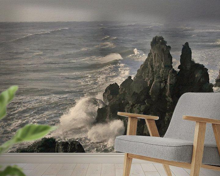 Sfeerimpressie behang: Landschap - Nieuw-Zeeland - Punakaiki - Schilderij van Schildersatelier van der Ven