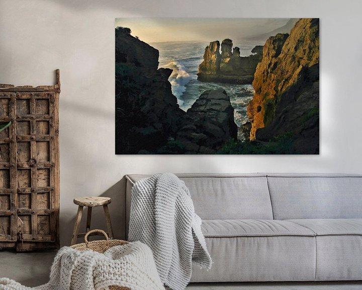 Sfeerimpressie: Landschap - Nieuw-Zeeland - Punakaiki - Schilderij van Schildersatelier van der Ven