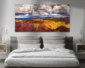 Bruine heuvelrug met wolken in Sierry Nevada Californië van Dieter Walther