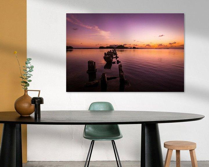 Impression: Couleurs froides pendant le coucher du soleil à Isla di Oro, Aruba sur Arthur Puls Photography