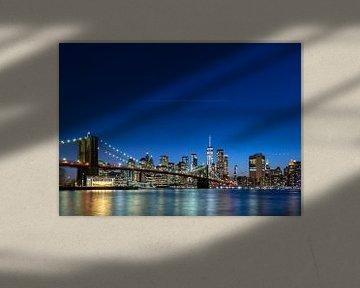 Le pont de Brooklyn de nuit sur Jeanette van Starkenburg