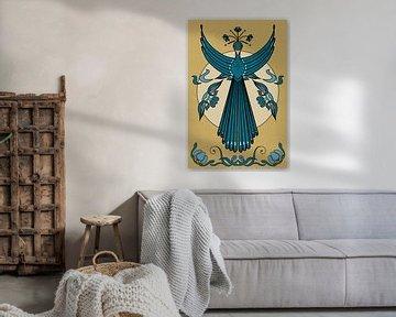 Fliegender Pfau im Jugendstil von Lida Bruinen