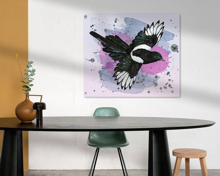 Beispiel: Eine Aquarellzeichnung einer fliegenden Elster von Bianca Wisseloo