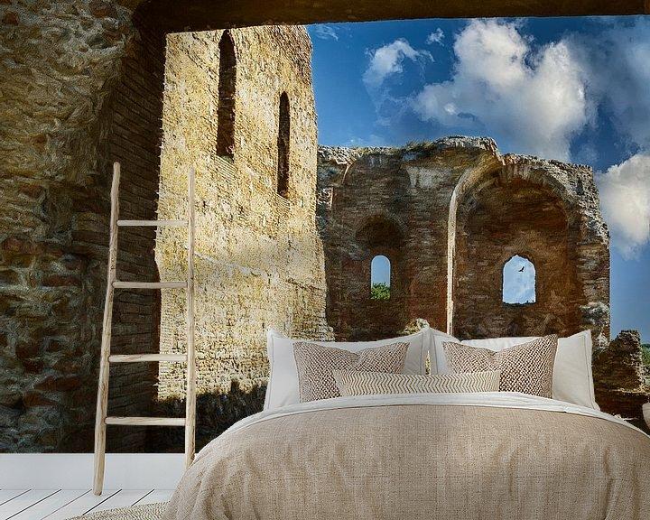 Sfeerimpressie behang: De ruïnes van Calabrië Italië van Dick Jeukens