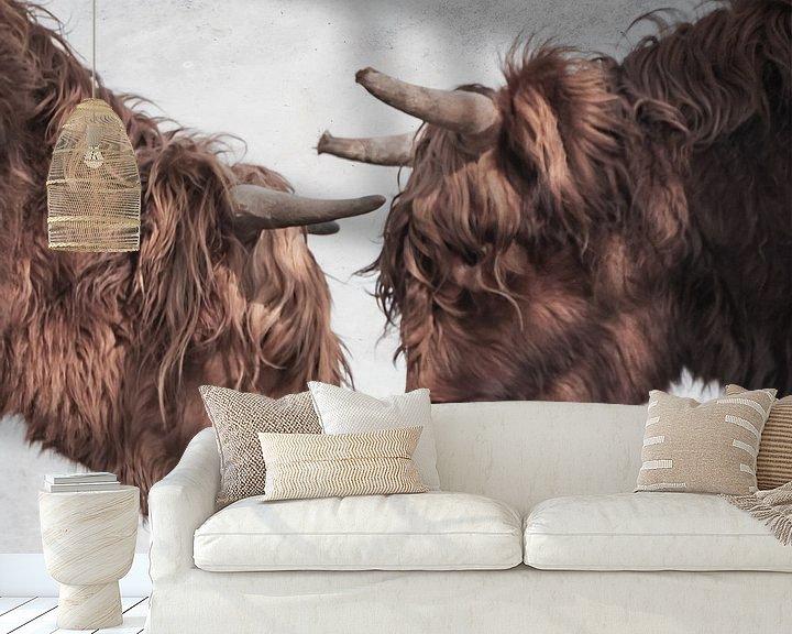 Sfeerimpressie behang: Schotse Hooglanders koppen van natascha verbij