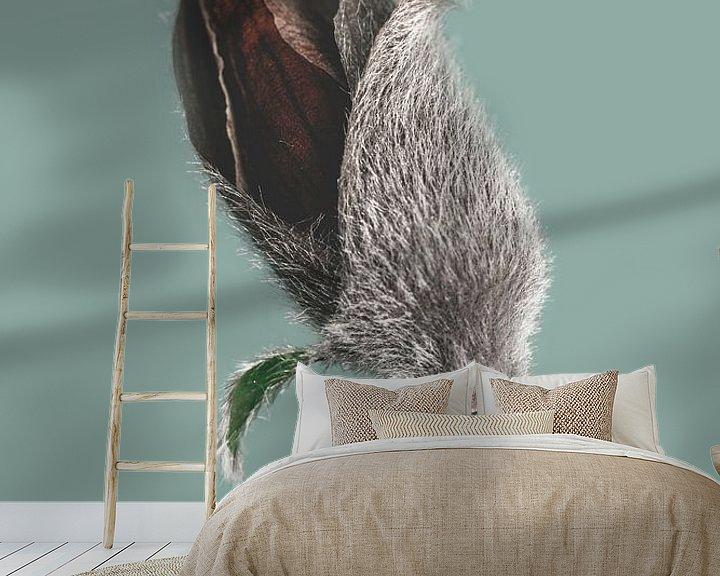 Sfeerimpressie behang: Magnolia plant knoppen als kunst van Steven Dijkshoorn