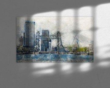 Aquarell mit Skizze von Rotterdam mit De Hef von Arjen Roos