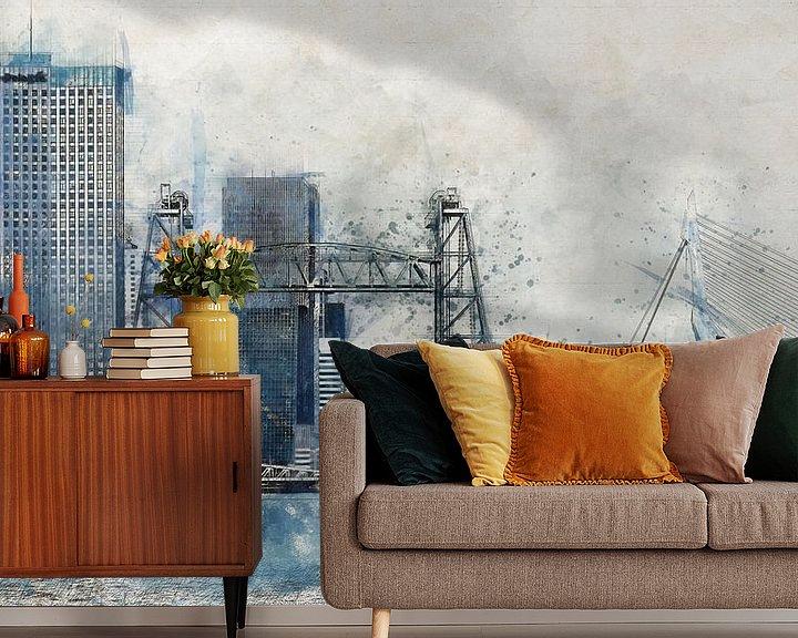 Beispiel fototapete: Aquarell mit Skizze von Rotterdam mit De Hef von Arjen Roos