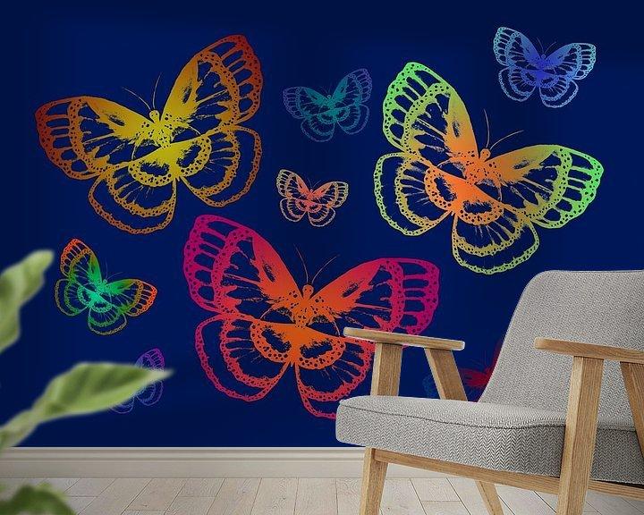 Beispiel fototapete: Bunte Schmetterlinge auf Blau von ZeichenbloQ