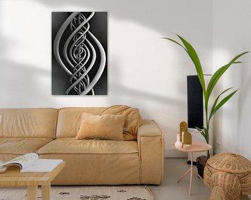 Fantasie spiraal in zwart wit