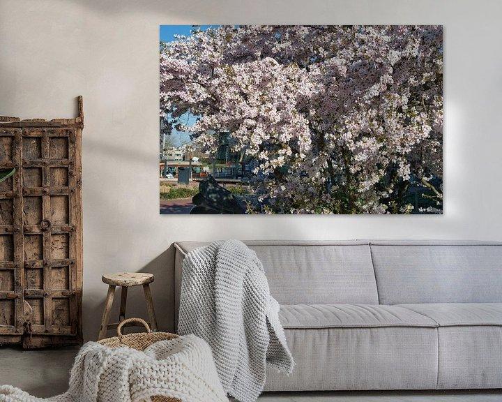 Impression: Blanc avec une touche de rose, les fleurs de sakura japonaises donnent une impression de printemps d sur JM de Jong-Jansen