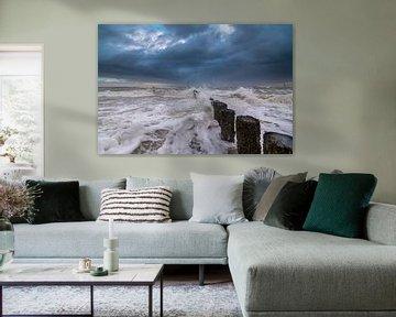 Storm in Westkapelle van Rob Bout