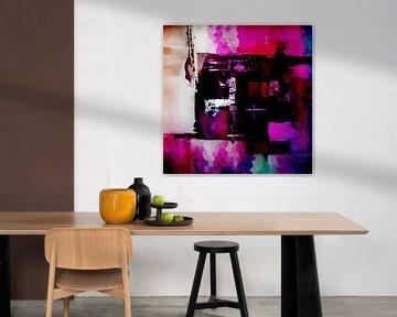 Modernes, abstraktes digitales Kunstwerk in Schwarz, Rosa und Lila