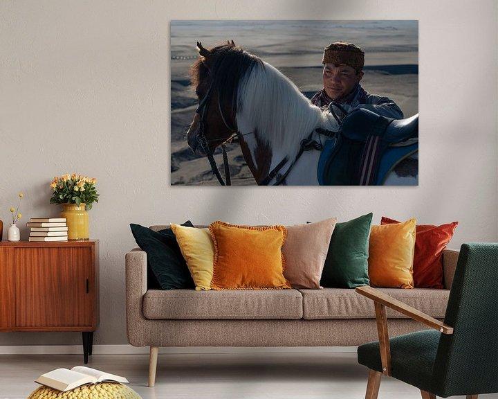 Impression: Portrait d'un cavalier du peuple Tengger sur Anges van der Logt