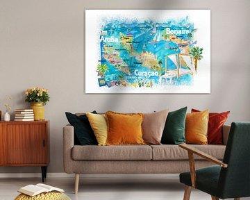 Aruba Bonaire Curacao Illustrierte Insel Reisekarte mit Straßen von Markus Bleichner