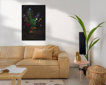 green parrot flowers, amazonepapegaai bloemen van Corrine Ponsen