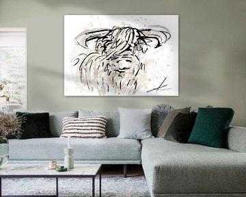 Schotse Hooglander Aquarel en pentekening - modern kunstwerk in waterverf stijl van Emiel de Lange