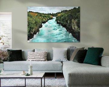 Landschap - Nieuw-Zeeland - Taupo - Wild Water van Waikato Rivier bij Huka Falls - Schilder