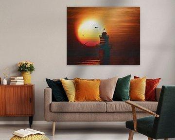 De vuurtoren van Newport met zonsondergang