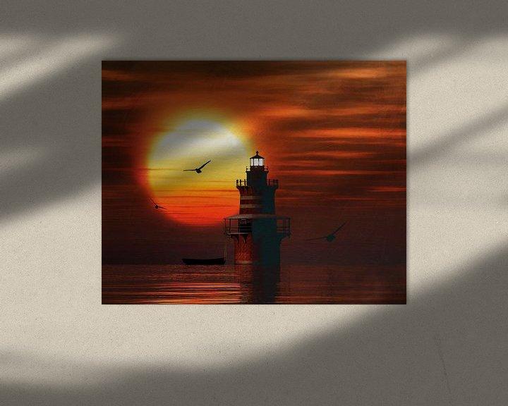 Sfeerimpressie: De Vuurtoren van Newport met een zonsondergang en Cumuluswolken van Jan Keteleer