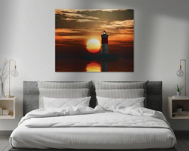 Sfeerimpressie: Vuurtoren Pierre Noires met een zonsondergang en turbulente Cirruswolken van Jan Keteleer