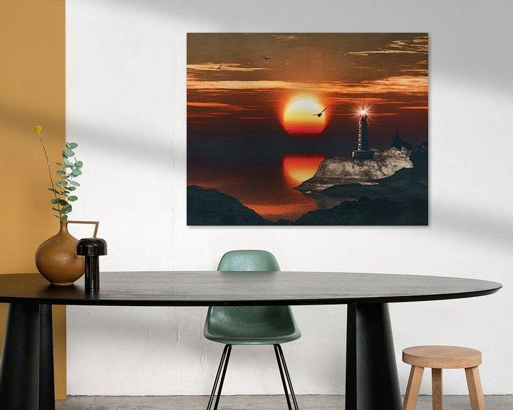 Sfeerimpressie: De vuurtoren van St Mathieu met een zonsondergang en turbulente Cirruswolken van Jan Keteleer