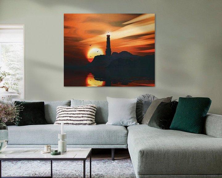 Sfeerimpressie: Vuurtoren met zonsondergang en wolken van Jan Keteleer