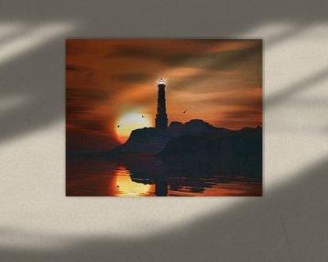 Vuurtoren met een zonsondergang en wervelende veters wolken