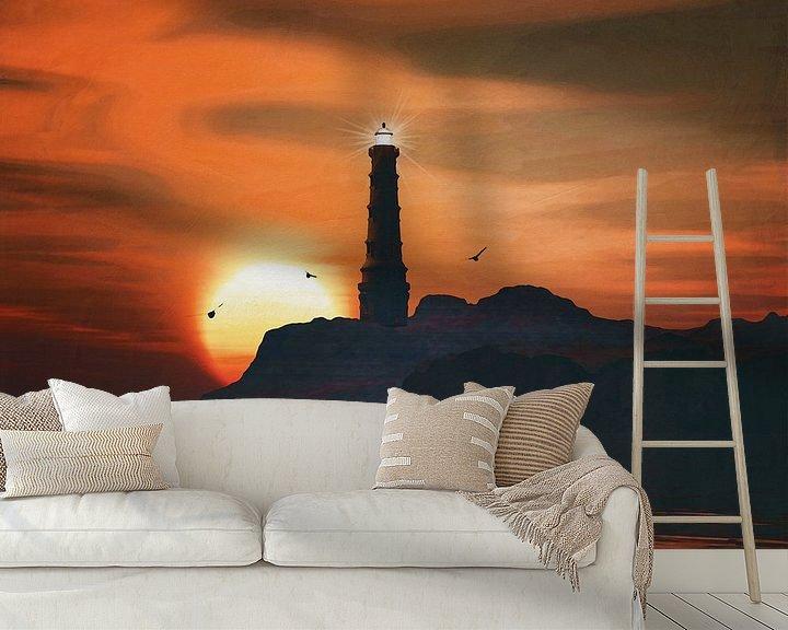 Sfeerimpressie behang: Vuurtoren met een zonsondergang en wervelende veters wolken van Jan Keteleer