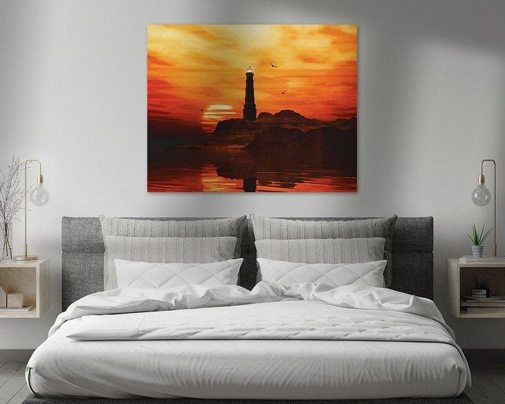 Sfeerimpressie: Vuurtoren met een zonsondergang en wilde gele Stratus wolken van Jan Keteleer