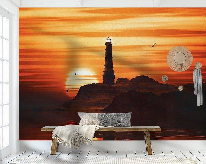 Sfeerimpressie behang: Vuurtoren met een zonsondergang en gele Stratus wolken van Jan Keteleer