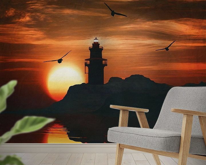 Sfeerimpressie behang: Vuurtoren met een zonsondergang en een meeuw van Jan Keteleer