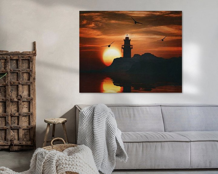 Sfeerimpressie: Vuurtoren met een zonsondergang en een meeuw van Jan Keteleer