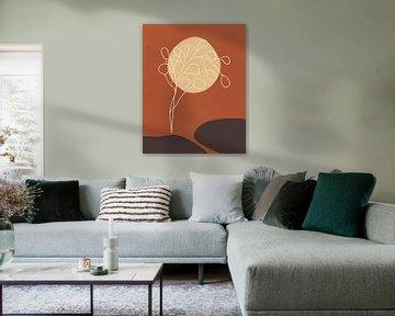 Minimalistisch landschap in herfstkleuren, abstract landschap met een boom en een zon