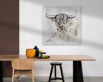 Digitales Kunstwerk - Gemälde eines Bullen oder einer Kuh. Tuschezeichnung koloriert im Aquarellstil von Emiel de Lange
