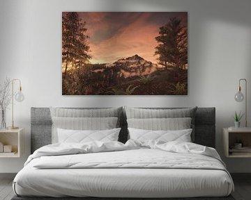 Majestueuze berg in het avondlicht van Besa Art