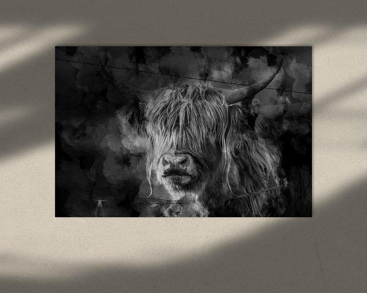 Sfeerimpressie: Schotse hooglander zwart wit kunst van Steven Dijkshoorn