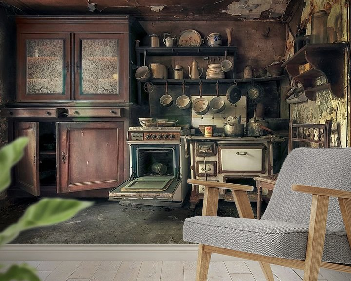 Beispiel fototapete: Verlassene Großmutters Küchen von Frans Nijland
